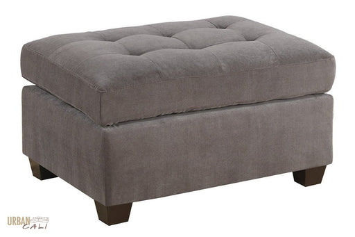 Burbank Charcoal Grey Waffle Suede Cocktail Ottoman-Wholesale Furniture Brokers