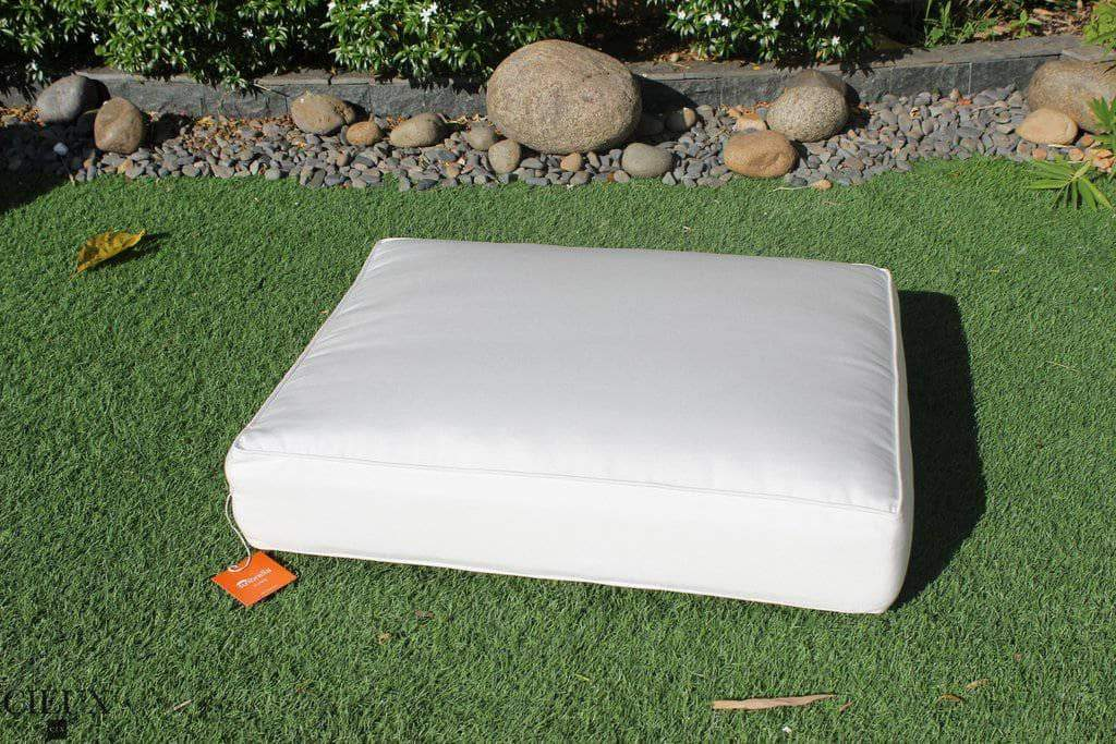 Marseille Natural Canvas Ottoman / Glass-Top Coffee Table-Wholesale Furniture Brokers