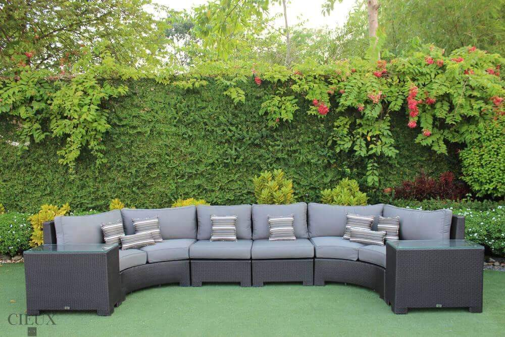 Provence Curved Large Sectional Sofa & 2 Glass Top End Tables - Available in 3 Colours
