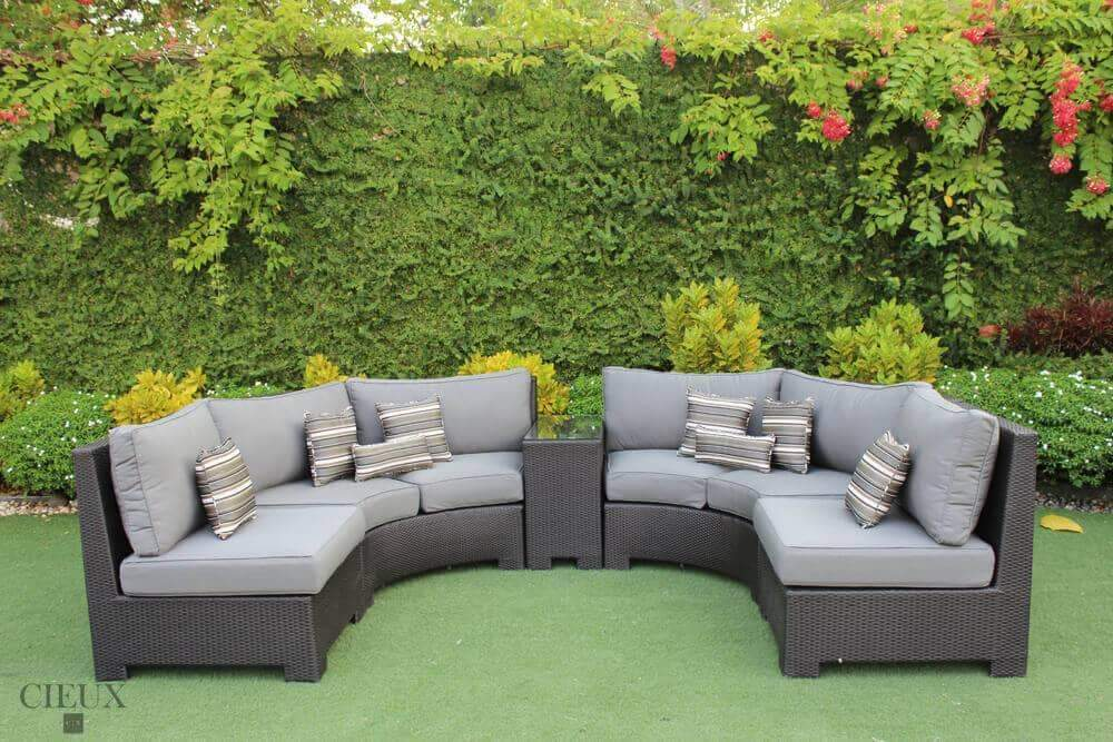 Provence Curved Large Sectional Sofa and Glass-Top End Table - Available in 3 Colours