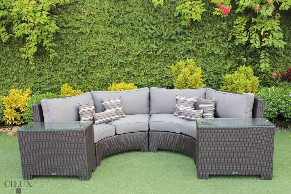 Provence Curved Sectional Sofa with 2 Glass-Top End Tables - Available in 3 Colours