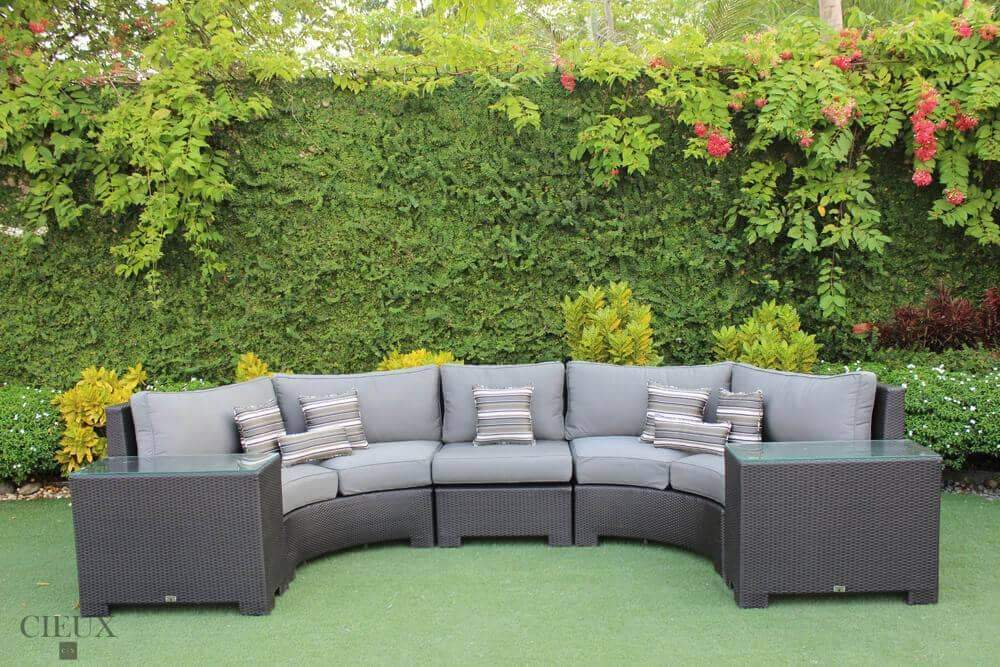 Provence Curved Sectional Sofa with Armless Chair & 2 Glass Top End Tables - Available in 3 Colours