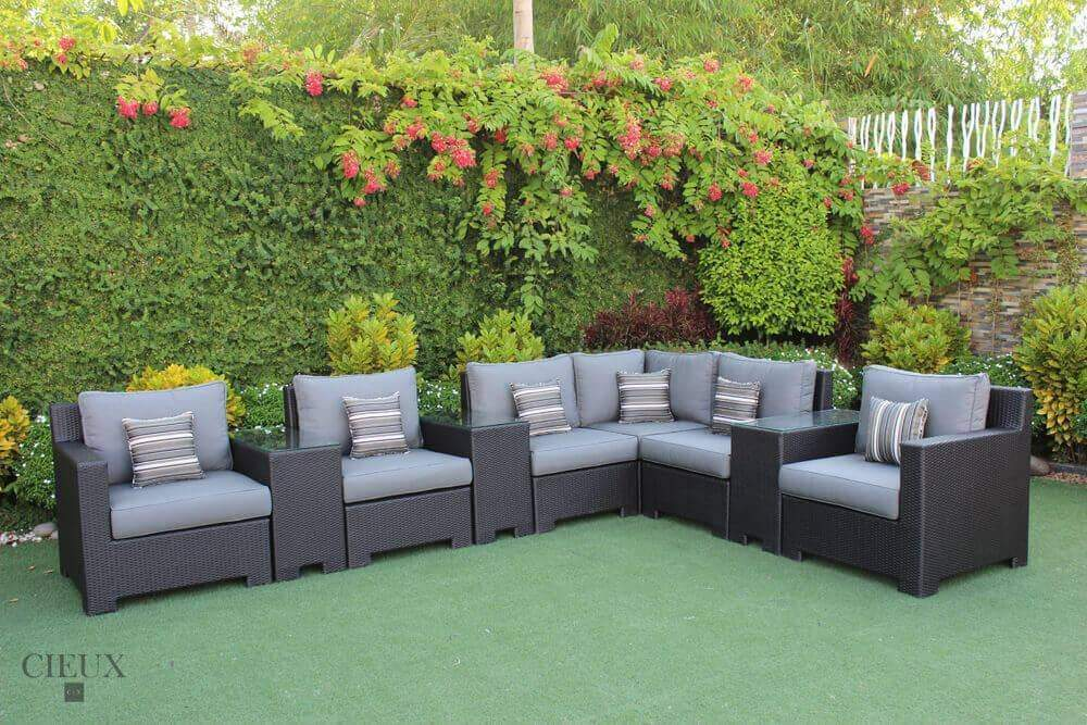 Provence Small L-Shaped Sectional with Three Glass Top Tables - Available in 3 Colours