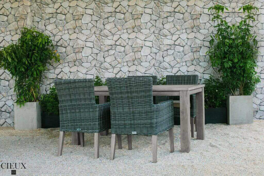 Champagne Weathered Teak Table with Four Grey Wicker Chairs