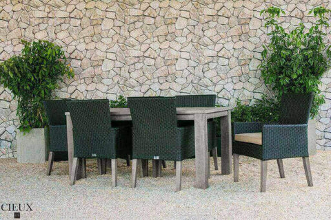 Champagne Weathered Teak Table with Six Dark Chocolate Wicker Chairs