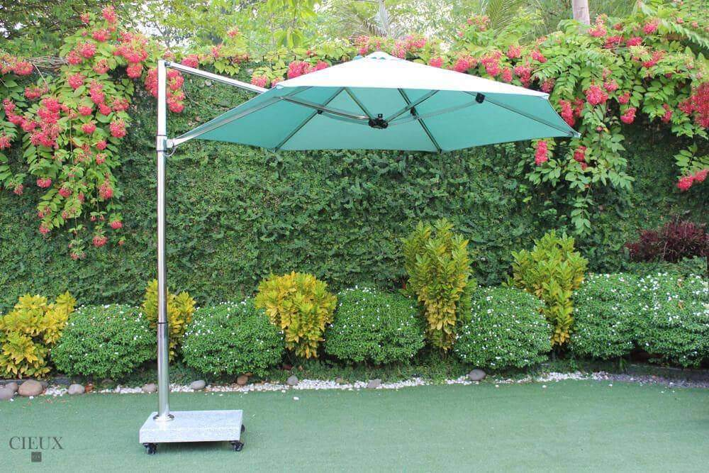 Provence Patio Cantilever Umbrella with Marble Base on Castors