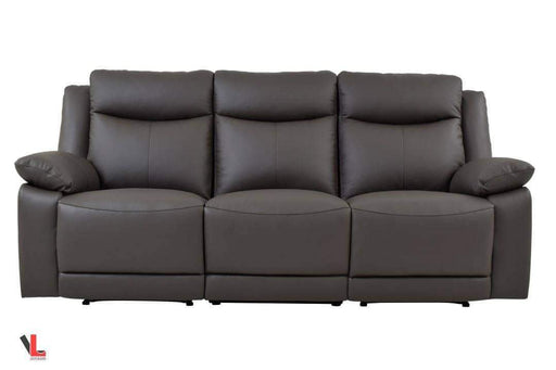Volo Espresso Leather Reclining Sofa-Wholesale Furniture Brokers