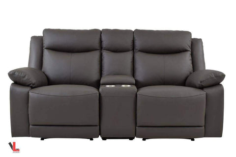 Volo Espresso Leather Reclining Loveseat with Center Console