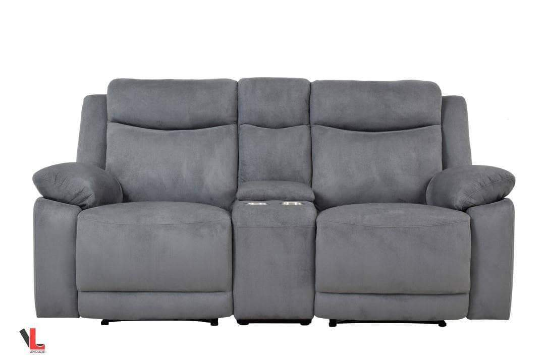 Surprising Volo Grey Fabric Reclining Loveseat With Console Creativecarmelina Interior Chair Design Creativecarmelinacom
