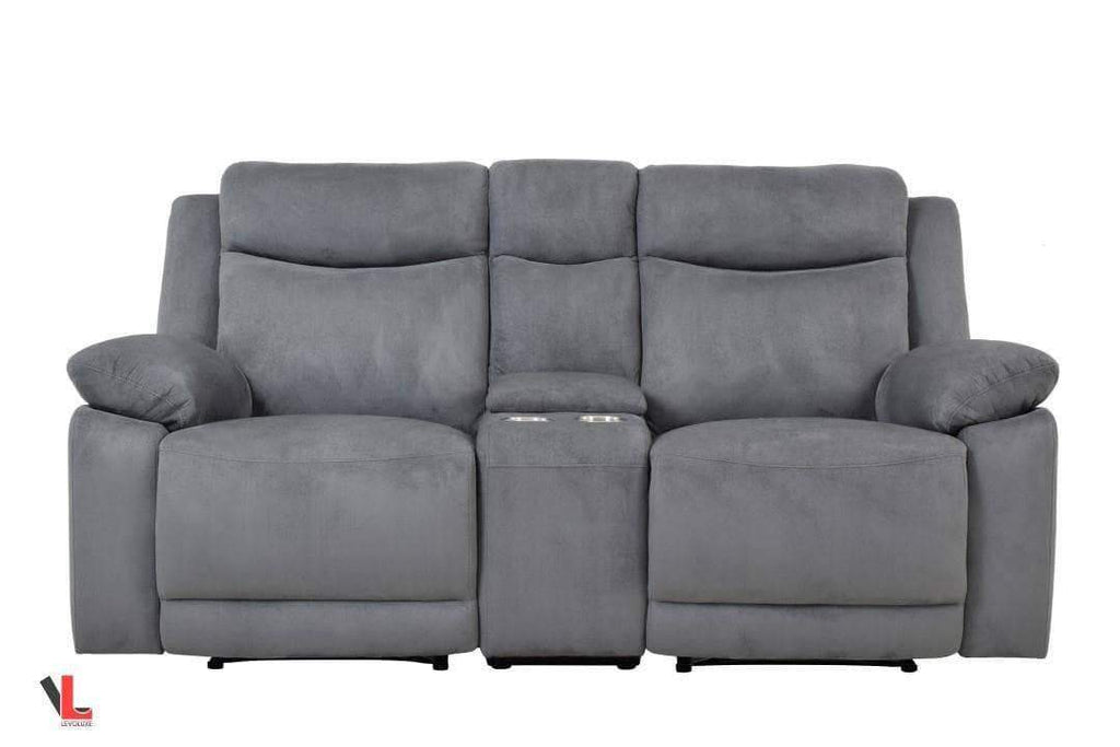 Volo Grey Fabric Reclining Loveseat with Console