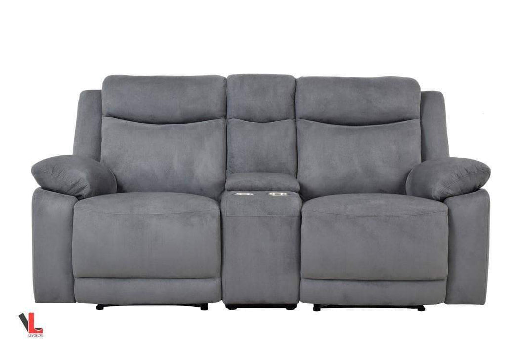 Volo Grey Fabric Reclining Loveseat with Console-Wholesale Furniture Brokers