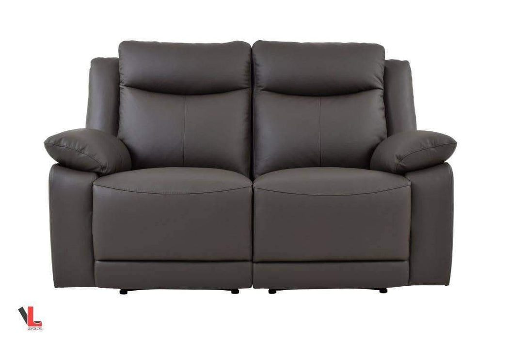 Volo Espresso Leather Reclining Loveseat-Wholesale Furniture Brokers