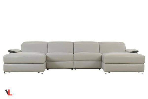 Aura Top Grain Grey Leather Large U-Shaped Sectional-Wholesale Furniture Brokers