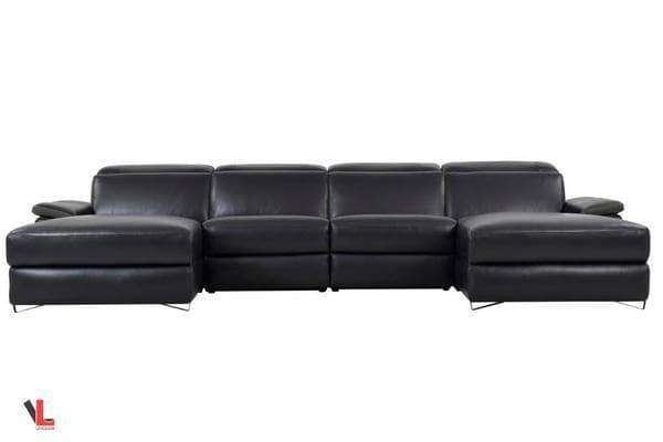 Amazing Aura Top Grain Black Leather Large U Shaped Sectional With Machost Co Dining Chair Design Ideas Machostcouk