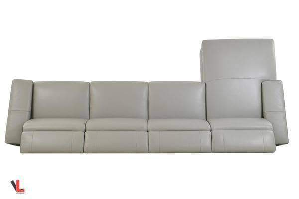 Aura Light Grey Leather Power Reclining Large Sectional with Left Facing Chaise-Wholesale Furniture Brokers