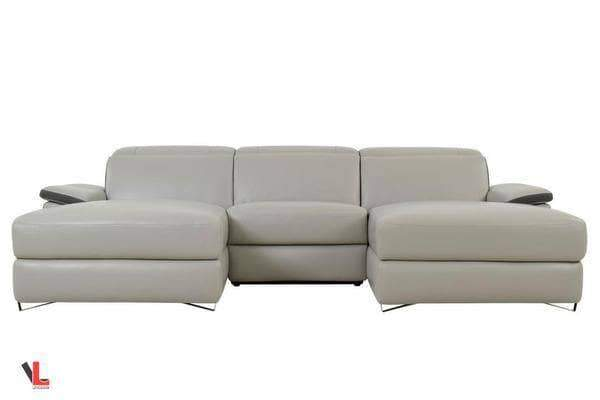 Aura Top Grain Light Grey Leather Small U-Shaped Sectional
