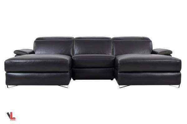 Aura Top Grain Black Leather Small U-Shaped Sectional-Wholesale Furniture Brokers
