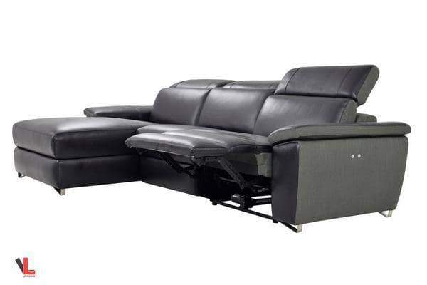 Aura Top Grain Black Leather Power Reclining Sectional with Left Chaise-Wholesale Furniture Brokers