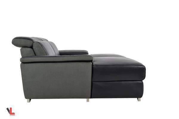 Aura Top Grain Black Leather Double Chaise Loveseat-Wholesale Furniture Brokers