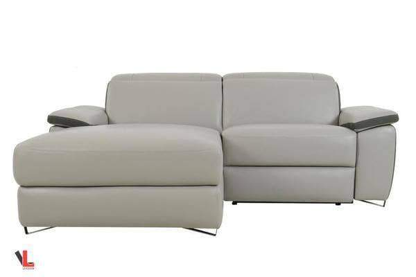 Aura Top Grain Light Grey Leather Small Sectional with Left Facing Chaise