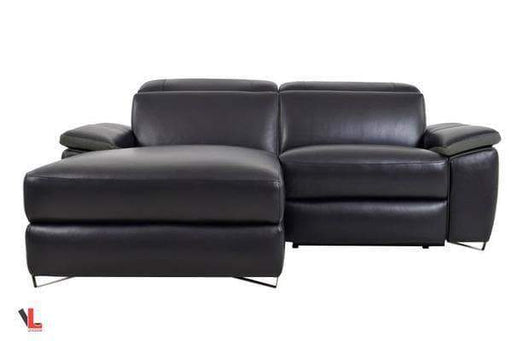 Aura Top Grain Black Leather Small Sectional with Left Chaise-Wholesale Furniture Brokers