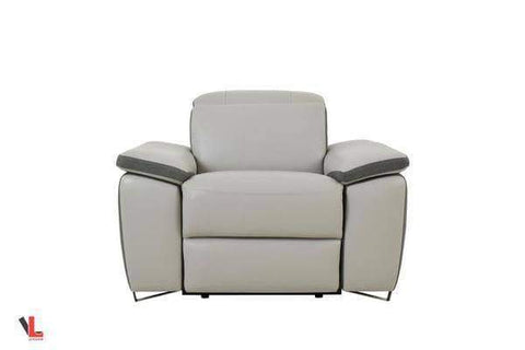 Aura Top Grain Light Grey Leather Power Recliner Chair