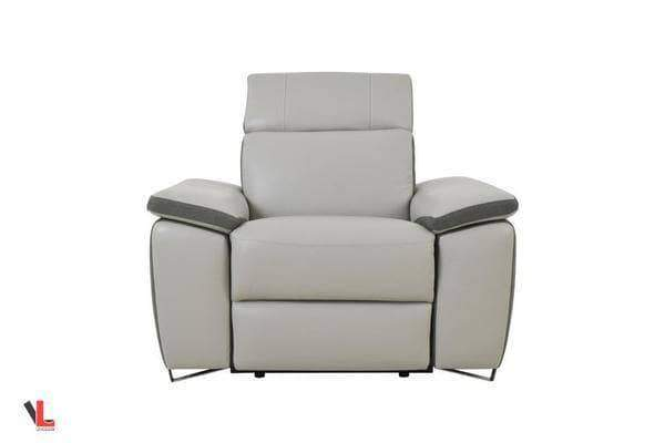 Aura Top Grain Light Grey Leather Power Recliner Chair-Wholesale Furniture Brokers