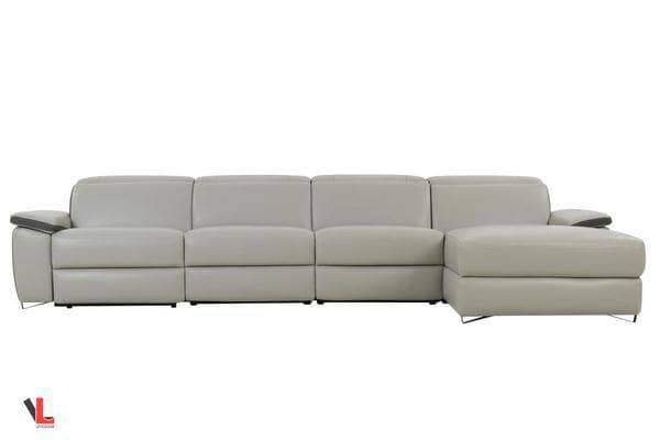 Aura Light Grey Leather Power Reclining Large Sectional with Right Facing Chaise