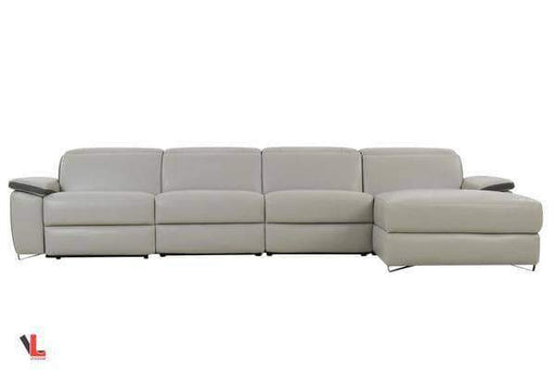 Aura Light Grey Leather Power Reclining Large Sectional with Right Facing Chaise-Wholesale Furniture Brokers