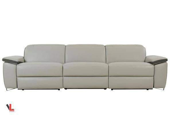 Aura Top Grain Light Grey Leather Power Reclining 2 Piece Sofa Set-Wholesale Furniture Brokers