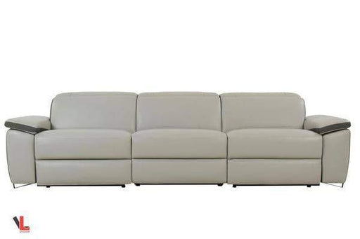 Aura Top Grain Light Grey Leather Power Reclining Sofa-Wholesale Furniture Brokers