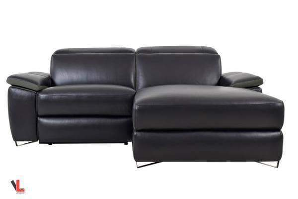Aura Top Grain Black Leather Small Sectional with Right Chaise