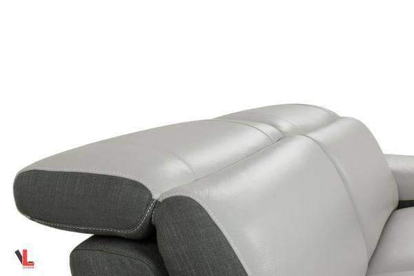 Aura Top Grain Light Grey Leather Power Reclining Large Sofa-Wholesale Furniture Brokers