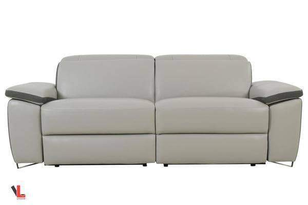 Aura Top Grain Light Grey Leather Power Reclining Loveseat