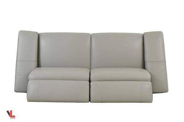 Aura Top Grain Light Grey Leather Power Reclining Loveseat-Wholesale Furniture Brokers