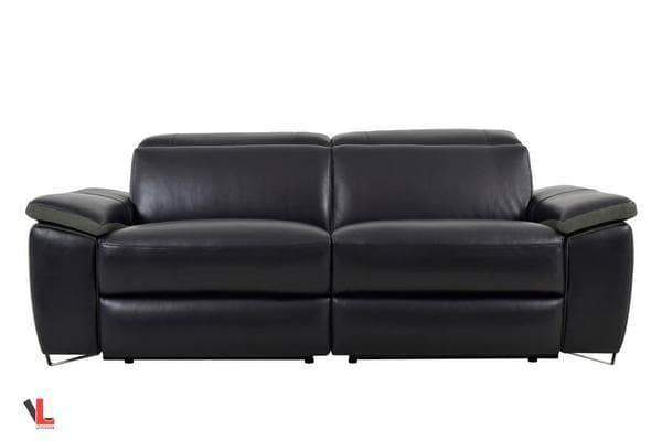 Aura Top Grain Leather Black Power Reclining Loveseat