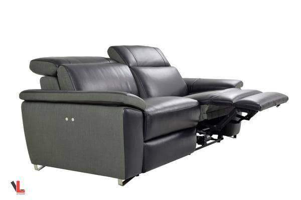 Aura Top Grain Leather Black Power Reclining Loveseat-Wholesale Furniture Brokers