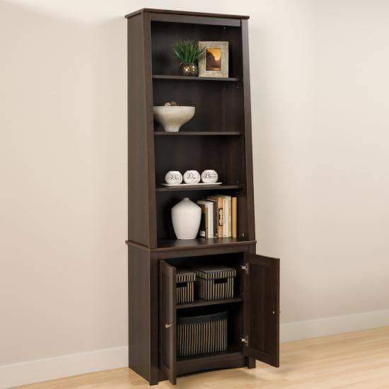 Espresso Tall Slant-Back Bookcase with 2 Shaker Doors-Wholesale Furniture Brokers