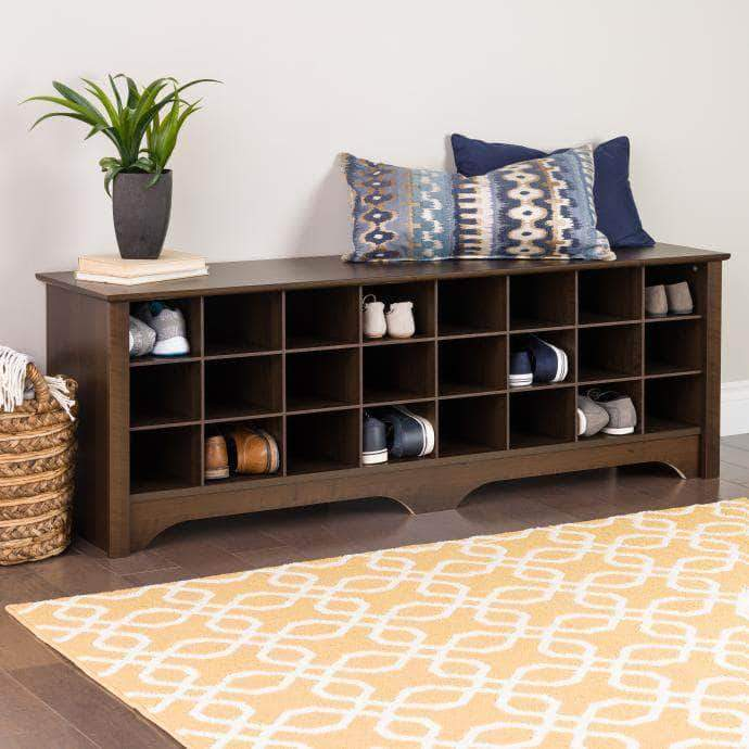 24 pair Shoe Storage Cubby Bench - Multiple Options Available