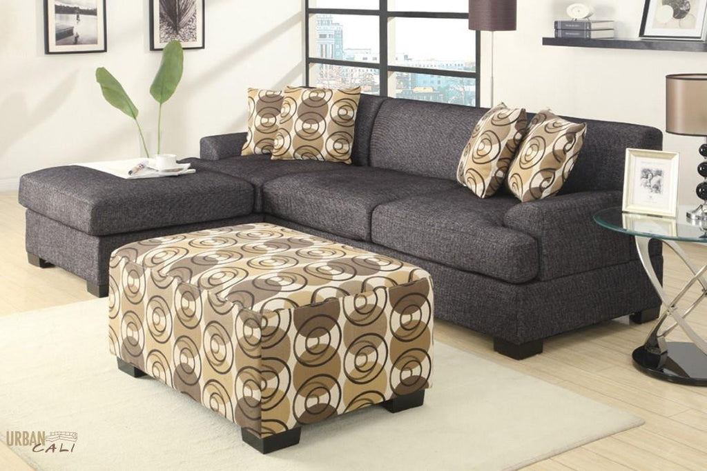Hayward Ash Black Small Sectional Sofa Set With Left Facing Chaise by Urban Cali