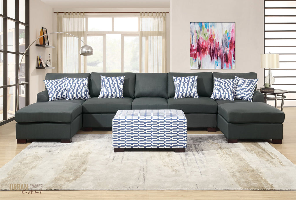 Hayward Large U-Shaped Sectional Sofa in Slate Black Polyfiber Linen Fabric