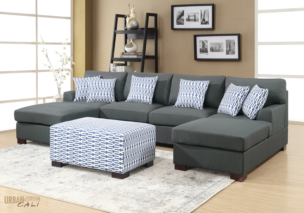 hayward small u shaped sectional sofa in slate black polyfiber linen rh gowfb com sectional sofa u shaped large u shaped sectional sofa