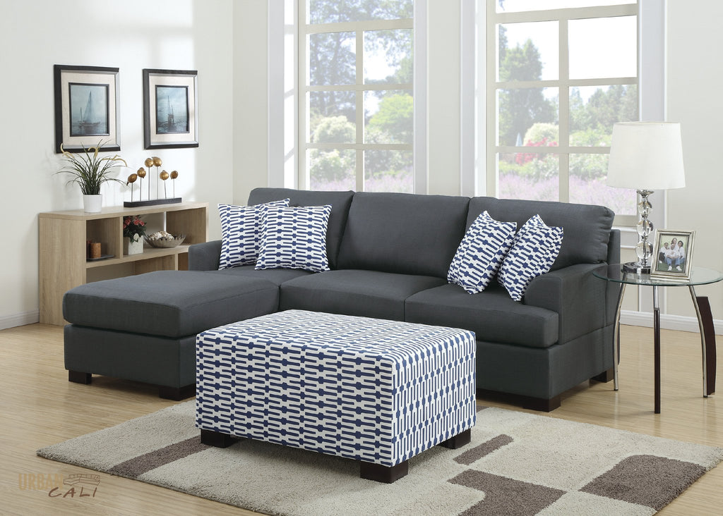 daryl and grey reversible sectional upholstered ottoman blue sofa fabric polyfiber chaise poundex set with pc collection