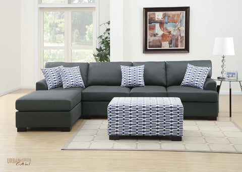 Hayward Large Sectional Sofa with Reversible Chaise in Slate Black Polyfiber Linen Fabric