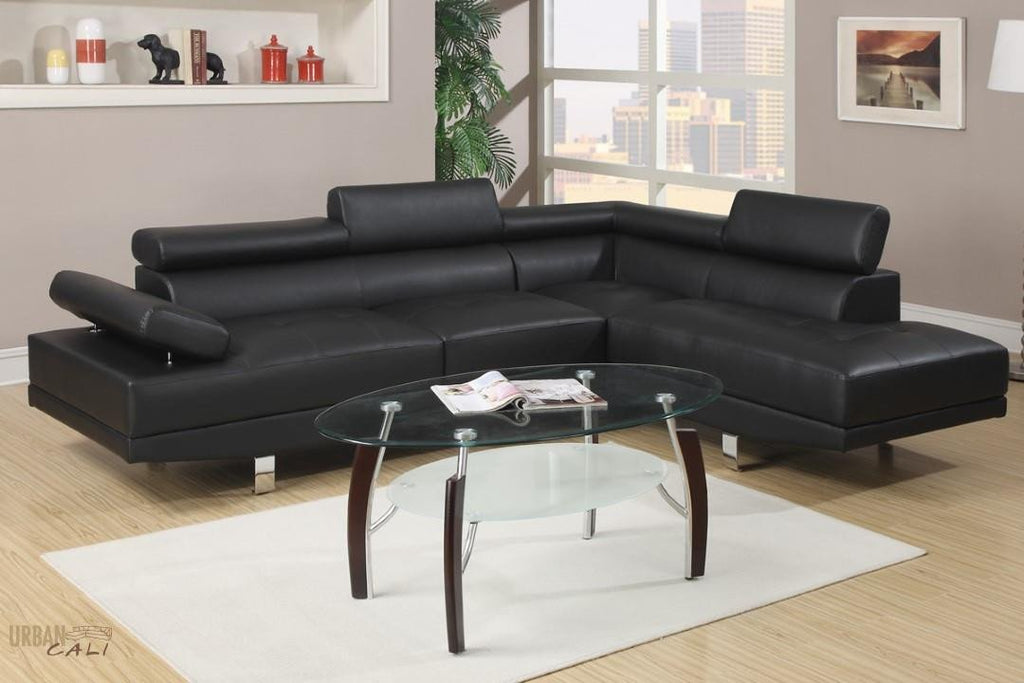 Hollywood Black Eco Leather Adjustable Sectional Sofa With Right Facing  Chaise
