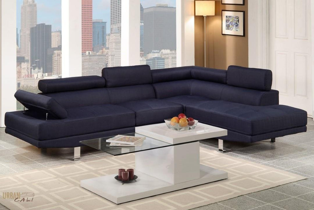 Hollywood Blue Linen Adjustable Sectional Sofa With Right Facing Chaise