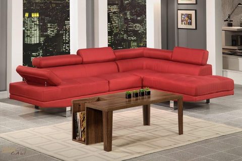 Hollywood Red Linen Adjustable Sectional Sofa With Right Facing Chaise