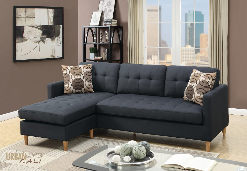 Laguna Small Sectional Sofa with Reversible Chaise In Black Polyfiber Linen