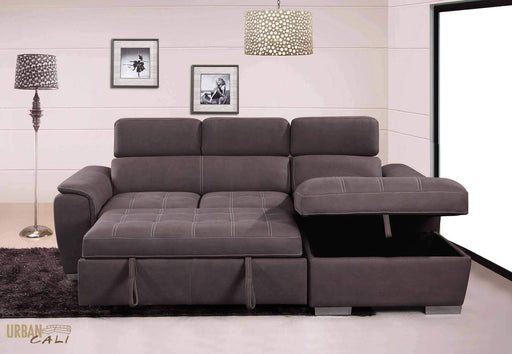 Fremont Sleeper Sectional Loveseat with Storage Chaise-Wholesale Furniture Brokers