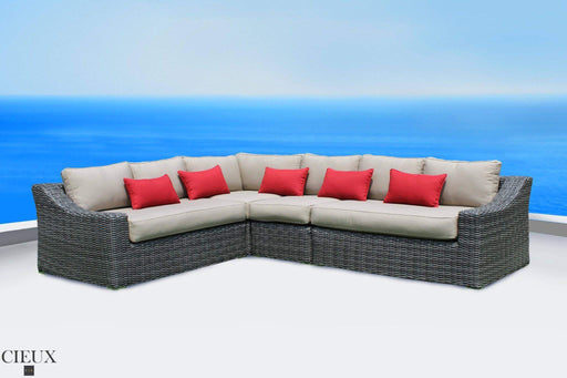 Marseille Natural Canvas L-Shaped Sectional-Wholesale Furniture Brokers